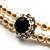 2 Strand Light Cream Imitation Pearl CZ Wedding Choker Necklace (With Jet-Black Central Stone) - view 5