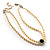 2 Strand Light Cream Imitation Pearl CZ Wedding Choker Necklace (With Jet-Black Central Stone) - view 10