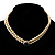 2 Strand Light Cream Imitation Pearl CZ Wedding Choker Necklace (With Jet-Black Central Stone) - view 3