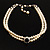 2 Strand Light Cream Imitation Pearl CZ Wedding Choker Necklace (With Jet-Black Central Stone) - view 2
