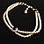 2 Strand Light Cream Imitation Pearl CZ Wedding Choker Necklace (With Jet-Black Central Stone) - view 11