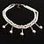 2 Strand Faux Pearl Bridal Diamante Choker Necklace (Silver Tone) - view 2