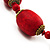 Glamorous Red Nugget Ceramic Necklace - view 3
