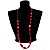 Long Plastic Faceted Nugget Necklace (Cranberry&Grey) - view 2