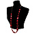 Long Plastic Faceted Nugget Necklace (Cranberry&Grey) - view 9