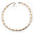 Light Cream Freshwater Pearl Necklace With Crystal Rings (8mm) - view 7