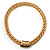 Gold Tone Wide Mesh Magnetic Fashion Choker Necklace - view 2
