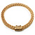 Gold Tone Wide Mesh Magnetic Fashion Choker Necklace - view 10