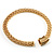 Gold Tone Wide Mesh Magnetic Fashion Choker Necklace - view 7