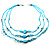 3-Strand Long Shell And Glass Bead Necklace (Aqua) - view 4