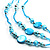 3-Strand Long Shell And Glass Bead Necklace (Aqua) - view 3