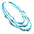 3-Strand Long Shell And Glass Bead Necklace (Aqua) - view 6