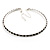 Thin Austrian Crystal Choker Necklace (Clear & Black)