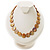 Lustrous Honey-Yellow Colourful Shell Disk Necklace On Cotton Tread - view 2