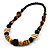 Chunky Geometric Wooden Bead Necklace (Black, Brown And Cream) - 68cm L - view 3