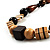 Chunky Geometric Wooden Bead Necklace (Black, Brown And Cream) - 68cm L - view 4