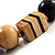Chunky Geometric Wooden Bead Necklace (Black, Brown And Cream) - 68cm L - view 5