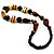 Chunky Geometric Wooden Bead Necklace (Black, Brown And Cream) - 68cm L - view 6