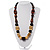 Chunky Geometric Wooden Bead Necklace (Black, Brown And Cream) - 68cm L - view 2