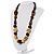 Chunky Geometric Wooden Bead Necklace (Black, Brown And Cream) - 68cm L - view 7