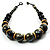 Chunky Colour Fusion Wood Bead Necklace (Black, Gold & White) - 46cm Length - view 6