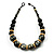 Chunky Colour Fusion Wood Bead Necklace (Black, Gold & White) - 46cm Length - view 3
