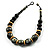 Chunky Colour Fusion Wood Bead Necklace (Black, Gold & White) - 46cm Length - view 7
