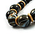 Chunky Colour Fusion Wood Bead Necklace (Black, Gold & White) - 46cm Length - view 8
