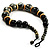 Chunky Colour Fusion Wood Bead Necklace (Black, Gold & White) - 46cm Length - view 5