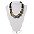 Chunky Colour Fusion Wood Bead Necklace (Black, Gold & White) - 46cm Length - view 10