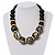 Chunky Colour Fusion Wood Bead Necklace (Black, Gold & White) - 46cm Length