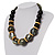 Chunky Colour Fusion Wood Bead Necklace (Black, Gold & White) - 46cm Length - view 11