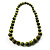 Animal Print Wooden Bead Necklace (Grass Green & Black) - 70cm L - view 9