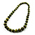 Animal Print Wooden Bead Necklace (Grass Green & Black) - 70cm L - view 11