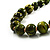 Animal Print Wooden Bead Necklace (Grass Green & Black) - 70cm L - view 10