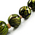 Animal Print Wooden Bead Necklace (Grass Green & Black) - 70cm L - view 4
