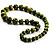 Animal Print Wooden Bead Necklace (Grass Green & Black) - 70cm L - view 7