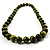 Animal Print Wooden Bead Necklace (Grass Green & Black) - 70cm L - view 12
