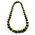 Animal Print Wooden Bead Necklace (Grass Green & Black) - 70cm L - view 13