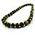 Animal Print Wooden Bead Necklace (Grass Green & Black) - 70cm L - view 14