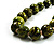 Animal Print Wooden Bead Necklace (Grass Green & Black) - 70cm L - view 3
