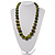 Animal Print Wooden Bead Necklace (Grass Green & Black) - 70cm L - view 2