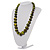 Animal Print Wooden Bead Necklace (Grass Green & Black) - 70cm L - view 16