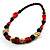 Chunky Geometric Wooden Bead Necklace (Black, Cream And Red) - 74cm L - view 6