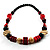 Chunky Geometric Wooden Bead Necklace (Black, Cream And Red) - 74cm L - view 7