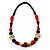 Chunky Geometric Wooden Bead Necklace (Black, Cream And Red) - 74cm L - view 3