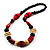 Chunky Geometric Wooden Bead Necklace (Black, Cream And Red) - 74cm L - view 2