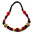 Chunky Geometric Wooden Bead Necklace (Black, Cream And Red) - 74cm L - view 8