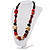 Chunky Geometric Wooden Bead Necklace (Black, Cream And Red) - 74cm L - view 9