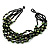 Multistrand Glass And Shell - Composite Necklace (Olive Green & Black) - 54cm L - view 6